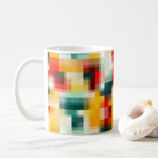 Red Blue Green Yellow White Abstract Pattern Coffee Mug