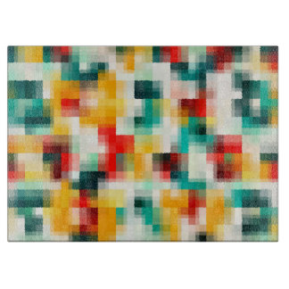 Red Blue Green Yellow White Abstract Pattern Cutting Board