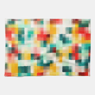 Red Blue Green Yellow White Abstract Pattern Kitchen Towel
