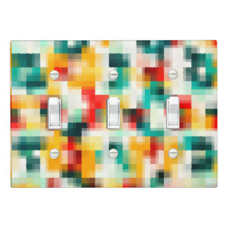 Red Blue Green Yellow White Abstract Pattern Light Switch Cover