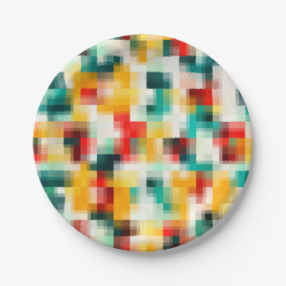 Red Blue Green Yellow White Abstract Pattern Paper Plate