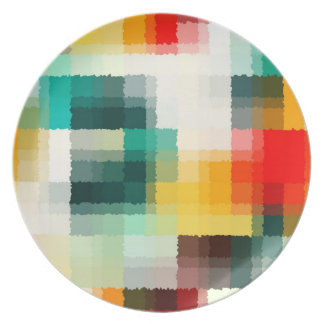 Red Blue Green Yellow White Abstract Pattern Plate