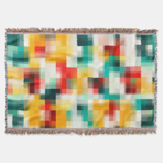 Red Blue Green Yellow White Abstract Pattern Throw Blanket