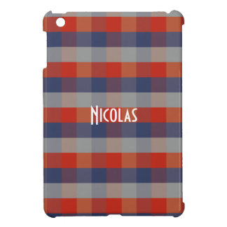 Red Blue Grey Gingham Pattern Personalized Name Cover For The iPad Mini