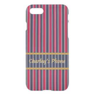 Red Blue Grey Stripes - Classy Design iPhone 8/7 Case