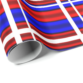 Red & Blue Horizontal Stripes Wrapping Paper