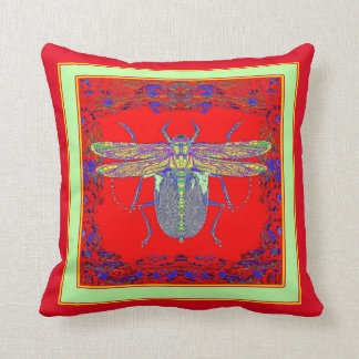 Red & Blue Insect Pillow By Sharles