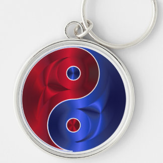 Red & Blue Metallic YinYang Silver Circle Necklace Silver-Colored Round Keychain