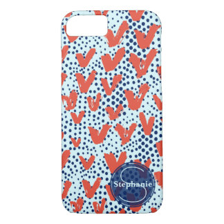 Red Blue Modern Painterly Hearts and Dots Monogram iPhone 7 Case