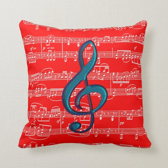 red blue music theme throw pillow