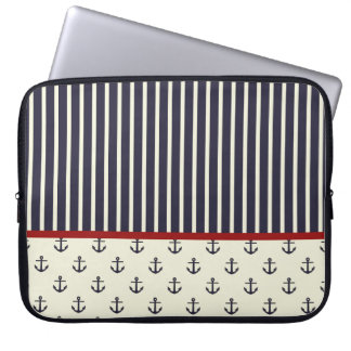 Red Blue Nautical Anchor Stripe Pattern Laptop Sleeve