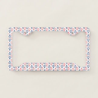 Red & Blue Nautical Boat Anchors Pattern License Plate Frame