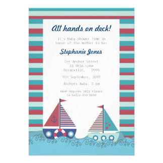 Red Blue Nautical Sailing Boat Baby Shower Invite