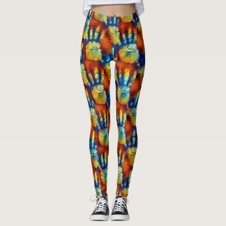 Red, blue, orange and yellow palm prints pattern leggings