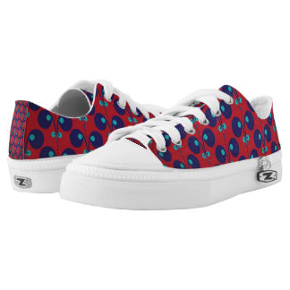 Red & Blue Pattern Low-Top Sneakers