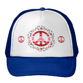 Red & Blue Peace Signs with Stars Trucker Hat