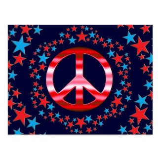Red & Blue Peace Signs with Stars Postcard