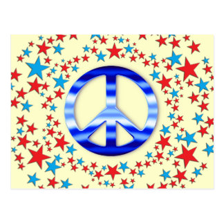 Red & Blue Peace Signs with Stars Post Cards
