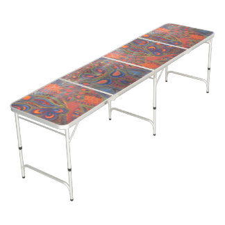 red blue peacock abstract painting beer pong table