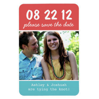 Red & Blue Photo Save The Date Magnet
