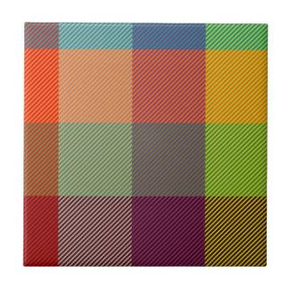 Red, blue, pink, purple, orange and lime tartan tile
