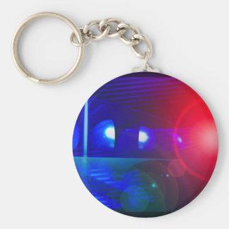 red & blue police lights basic round button keychain