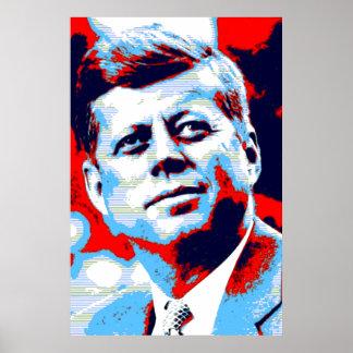 Red Blue Pop Art JFK John F. Kennedy Poster
