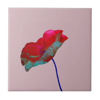 Red blue poppy on dusty pink tile