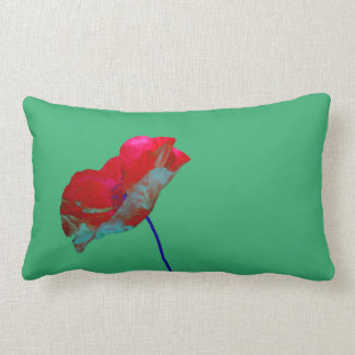Red blue poppy on emerald green lumbar pillow