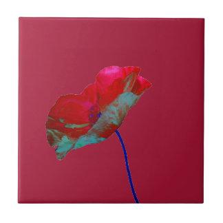 Red blue poppy on grape red tile