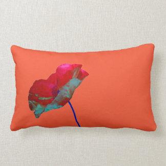 Red blue poppy on orange pink lumbar pillow