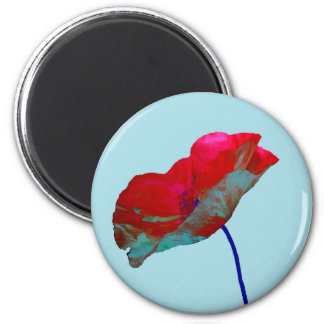 Red blue poppy on pastel blue 2 inch round magnet