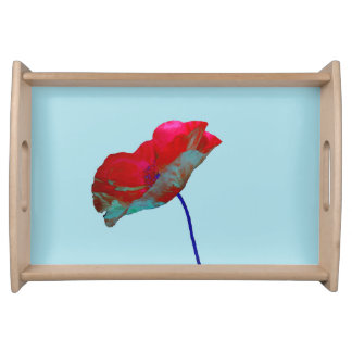 Red blue poppy on pastel blue serving tray