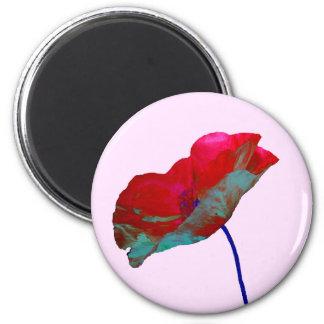 Red blue poppy on pastel pink 2 inch round magnet