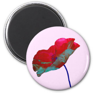 Red blue poppy on pastel pink magnet