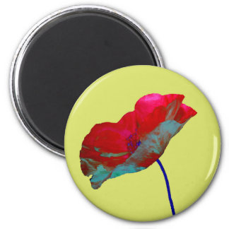 Red blue poppy on pastel spring green 2 inch round magnet