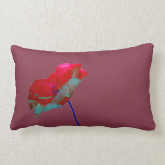Red blue poppy on purple lumbar pillow