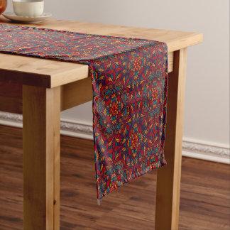 Red blue purple kaleidoscope pattern short table runner