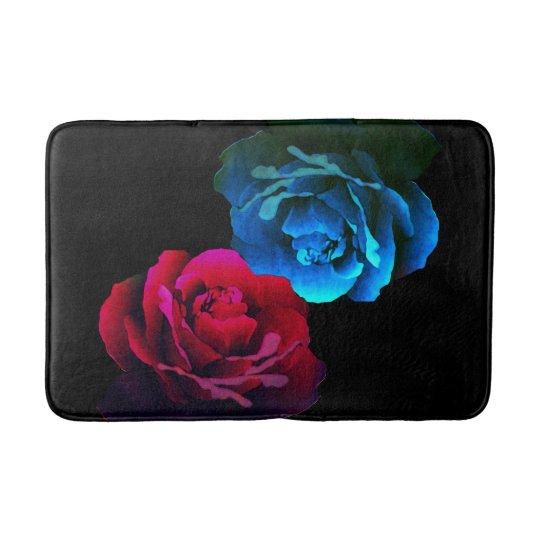 Red & Blue Roses Bath Mat