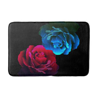 Red & Blue Roses Bathroom Mat