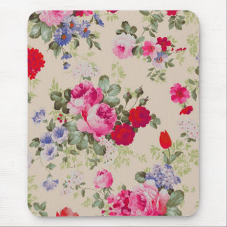 Red & Blue Roses Flower Collage Mouse Pad