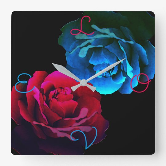 Red & Blue Roses Wallclock