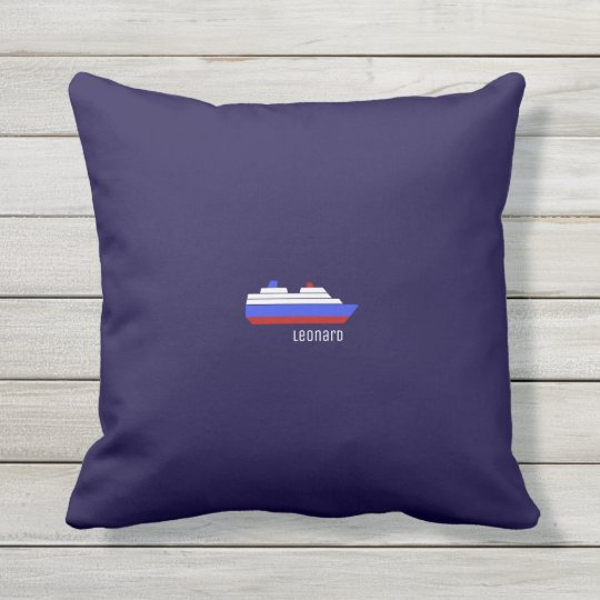 red & blue ship outdoor pillow