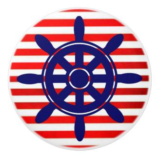 Red Blue Ship Wheel  Nautical Themed Cabinet Knob