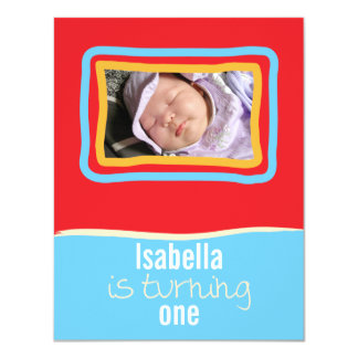 """Red & Blue SkyFrame Front 4.25"""" X 5.5"""" Invitation Card"""