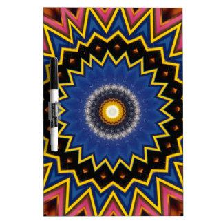 Red Blue Spiked Mandala Pattern Dry Erase Board