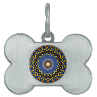 Red Blue Spiked Mandala Pattern Pet Name Tag