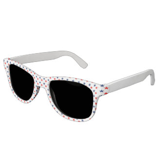 Red & Blue Stars on White Sunglasses