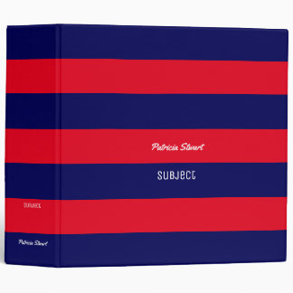 red & blue stripes with name and subject binder