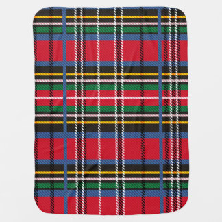 Red, Blue tartan and Cloud Stroller Blanket